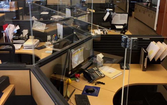 Columbia grain offices with newly installed social distancing barriers